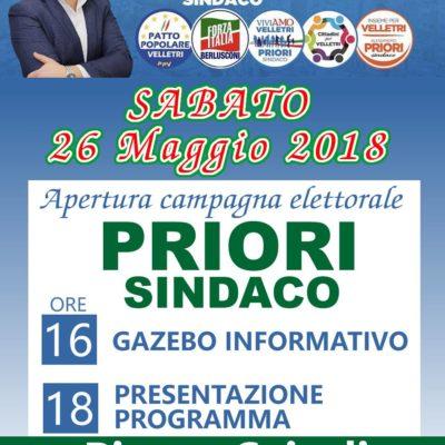 Sabato 26 maggio comizio del candidato Sindaco Alessandro Priori in piazza Cairoli